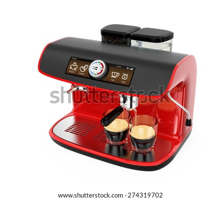 Stylish red coffee machine brewing espresso in two glasses. Original design. 3D rendering image with clipping path.