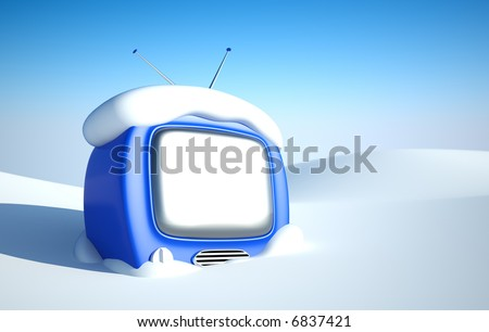 Stylish retro TV in snow wit blank screen. easy editable image for you design - stock photo