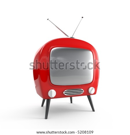 Stylish retro TV - isolated - stock photo