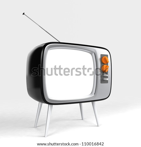 stylish retro TV with blank screen for message or image - stock photo