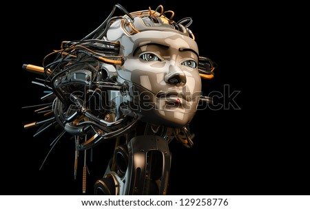 Stylish robotic geisha with wired hairstyle / Girl with dreads