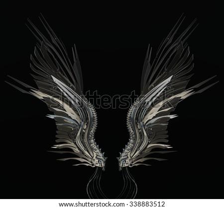 Stylish robotic wings on dark background - stock photo