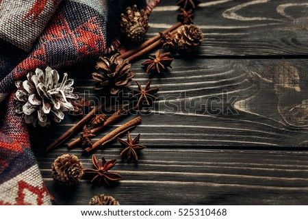 Stylish Rustic Winter Autumn Wallpaper Anise Stock Photo 525310468
