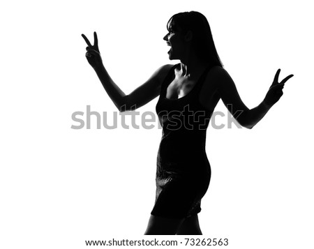 stylish sexy silhouette caucasian beautiful woman laughing peace victory gesture on studio isolated white background - stock photo