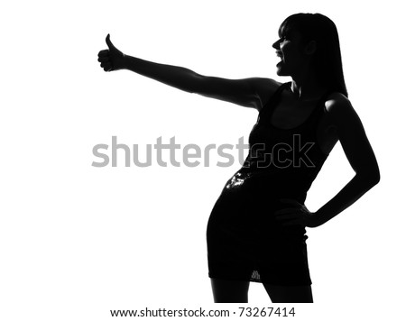 stylish sexy silhouette caucasian beautiful woman laughing thumb up gesture on studio isolated white background - stock photo