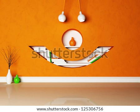 Stylish shelf in the shape of a face - stock photo