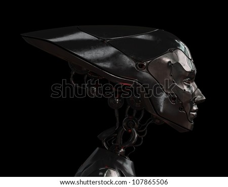 Stylish steel robotic head - stock photo