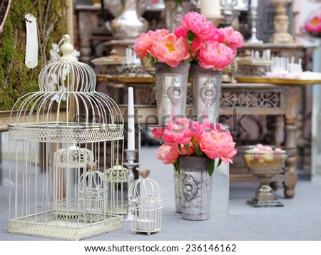 Stylish sweet table on wedding or event party  - stock photo
