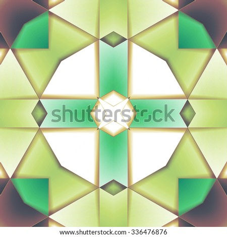 Stylish symmetrical background with bold geometrical patterns and vintage color palette. For wallpaper, pattern fills, web page background, surface textures for print and dalle production. - stock photo