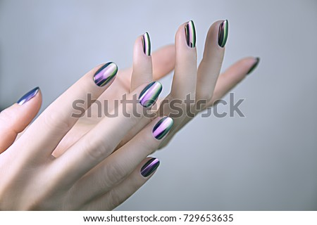 Stylish Trendy Female Mirror Manicure Metal Stock Photo Edit Now