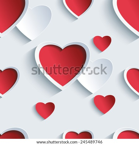 Stylish Valentines day background seamless pattern with 3d red and gray hearts. Creative abstract wallpaper with hearts. Love card for Valentines day. Raster illustration - stock photo