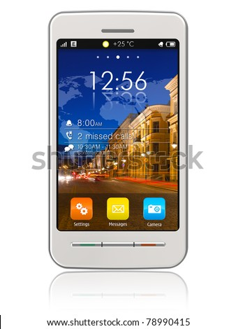 Stylish white touchscreen smartphone isolated on white reflective background