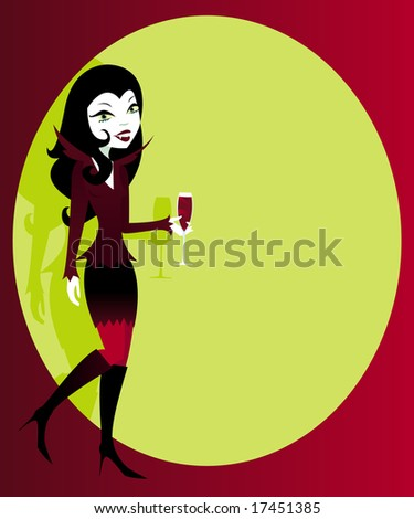Stylish woman in a sexy vampire costume for Halloween, with blood red cocktail in hand -- plenty of copyspace for an ad or invitation... - stock photo