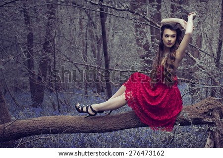 stylish Woman in red Dress Posing at the Woods - stock photo