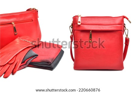 Stylish woman red bag, gloves and a scarf isolated on white background. Collage