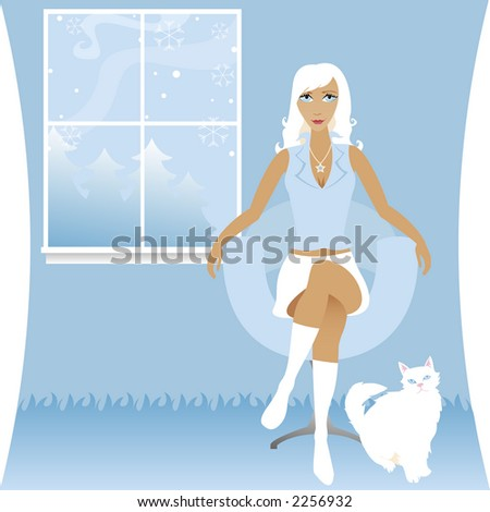 Stylish woman sits and enjoys a cool winter evening with her white cat - a scene of snow falling outside the widow - stock photo