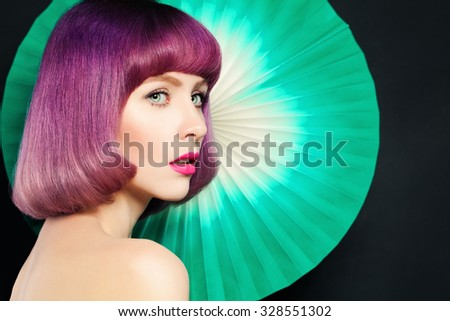 Stylish Woman with Creative Coloring Hair and Makeup