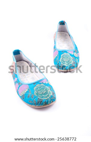 Stylish women summer foot wear isolated on white - stock photo