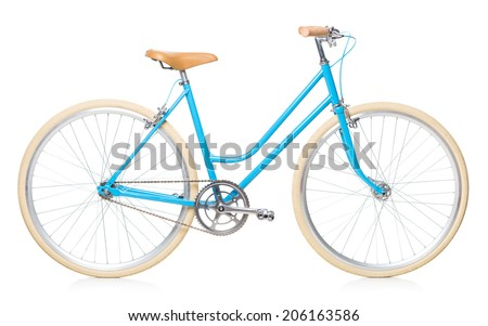 Stylish womens blue bicycle isolated on white background - stock photo