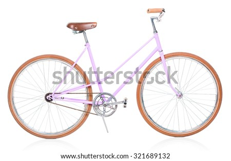 Stylish womens pink bicycle isolated on white background - stock photo