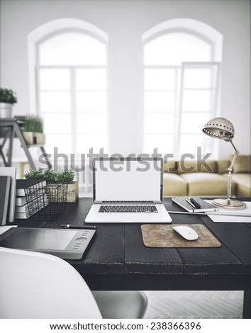 Stylish workspace with computer  on home or studio - stock photo