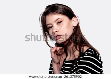 Stylish Young Mixed Race European Woman - Stock Image - stock photo