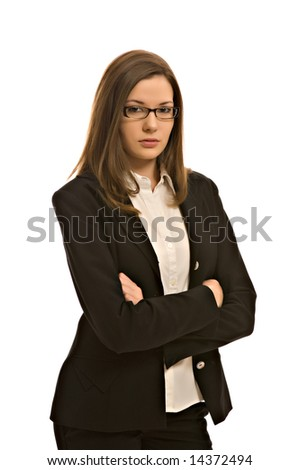 Stylish young woman in a blazer, wearing glasses - stock photo