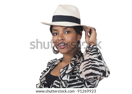 Stylish young woman in hat a Sunday fashion portrait - stock photo