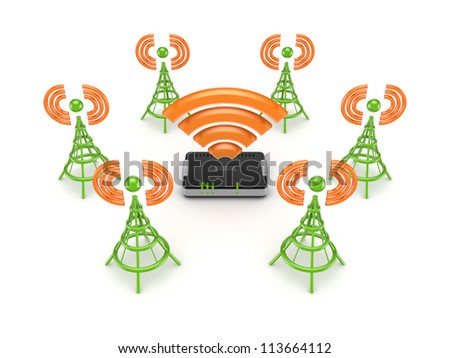 Stylized antennas around router.Isolated on white background.3d rendered. - stock photo