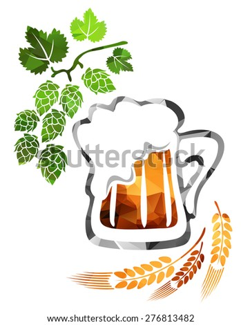 Stylized beer mug isolated on a white background. - stock photo