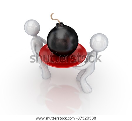 Stylized bomb on a dish.3d rendered.Isolated on white. - stock photo
