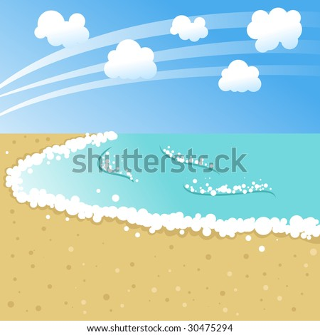 Stylized cartoon landscape of the beach
