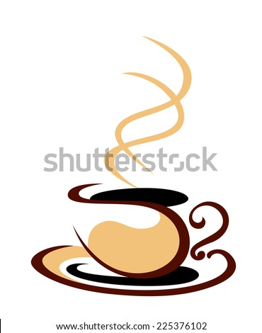 Stylized cartoon sketch illustraion in shades of brown of a hot steaming cup of coffee on a white background