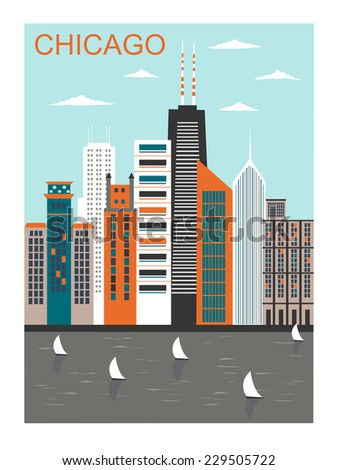 Stylized Chicago city in bright colors - stock photo