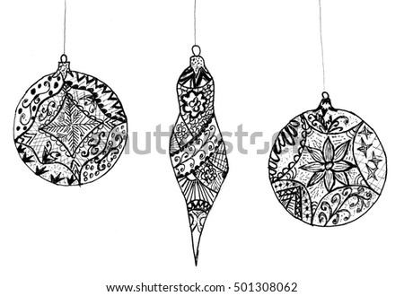 Stylized christmas ornaments made of decorative abstract patterns.