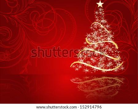 stylized Christmas tree on decorative background. raster copy of vector file - stock photo