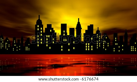 Stylized city against night background
