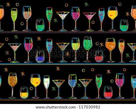 Stylized cocktail party background, seamless pattern. - stock photo