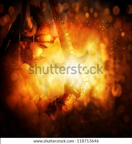 Stylized concept portrait of a warrior holding glowing sword with abstract golden fire background - stock photo