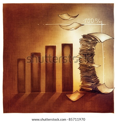 stylized conceptual business chart - busy office success metaphor (artistic loose stylized painting with documents symbol) - stock photo