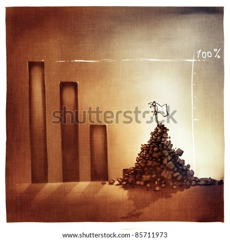 stylized conceptual business chart - giving-up metaphor (artistic loose stylized painting) - stock photo