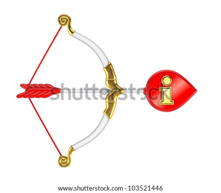 Stylized cupid's bow with Info sign.Isolated on white background.3d rendered. - stock photo