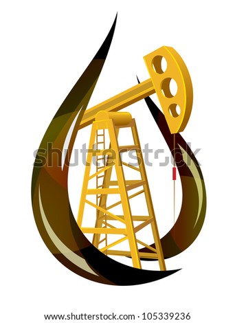 Stylized drop of fossil oil and the pump inside.  Raster version. - stock photo