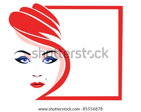 Stylized female face - stock photo