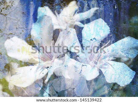 stylized floral picture with patina texture - stock photo