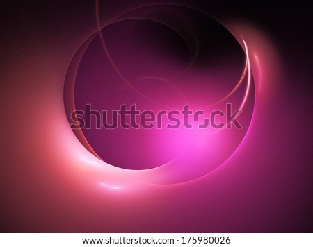 stylized glowing sphere  purple, red on black - stock photo