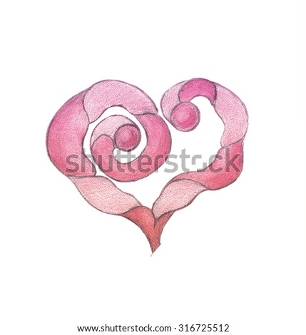 Stylized heart. Freehand drawing with crayons. - stock photo