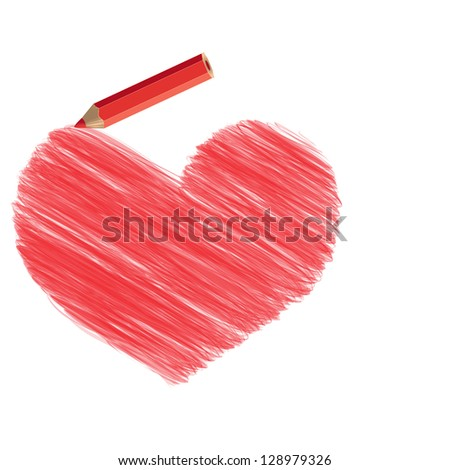 Stylized heart pencil drawing and a pencil. Rasterized version. - stock photo