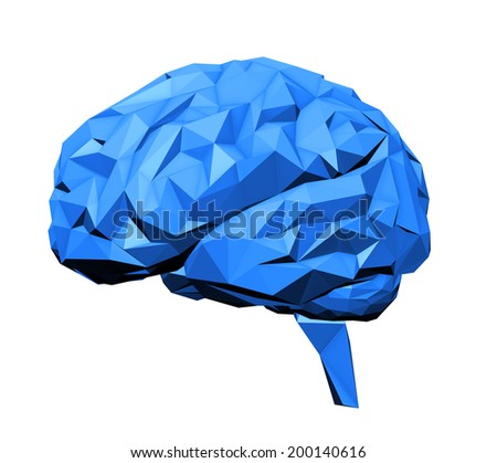 Stylized human brain with a 3D polygon look - stock photo