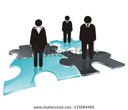 stylized icon as abstract business team on puzzle field